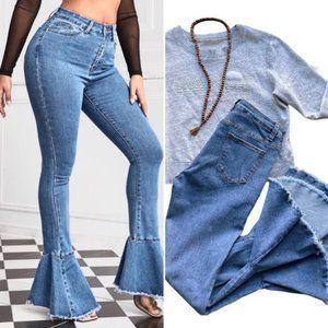 Frayed Bottom Stretchy Jeans High Waist Size 10